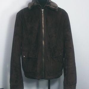 Perry Ellis men's faux suede coat with fur collar